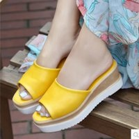 anti skip - Lady Cheap Tender Okobo Anti skip Spongy Thick High heels Plus size Sandals Sipper Girls Casual beach Summer shoes Flip flops Green