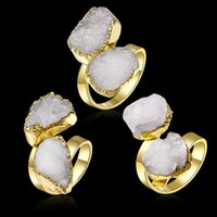Wholesale New Arrival Natural Druzy Agate ring Stone Color Druzy Geode Agate crystal ring