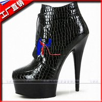 Wholesale 15 cm high heels for women s shoes stripper inches high heels black gladiator short boots spool platform