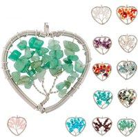 Wholesale Tree of Life Heart Pendant Shape Chakra Natural Stone Rainbow Rose Quartz Crystals Pendant for Women Party Wedding Gift