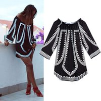 Wholesale Summer Women Sexy Loose Off Shoulder Dresses New Printed Three Quarter Sleeve Tops Blouse Short Dress vestidos femininos