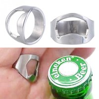 Wholesale 1pc Stainless Steel Finger Ring Bottle Opener Ring Shape Beer Bottle Opener for Beer Cola Bar