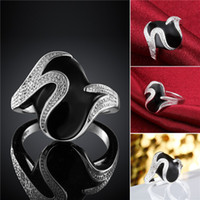 Wholesale Mix size pieces silver Black lacquer inlaid stone rings personality GSSR667 Factory direct sale fashion sterling silver finger ring