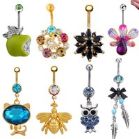 bell pendant jewelry - 8Pcs Mixed style Ombligo Belly Button Ring Rhinestone Pendant L Surgical Steel G Navel Tragus Body Jewelry
