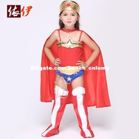 Wholesale DHL halloween costume for kids clothing girls Cosplay animation costume play Superman Costume Dress anime