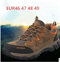 Wholesale MEN BIG SIZE HIKING SHOES US13 US14SPORT SHOES JOGGING SHOES WITH CANVAS AND THEATHER UPPERTHREE COLORS