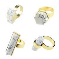Wholesale Brand White Turquoise Stone Rings K Gold Plated Natural Stone Gemstone Finger Rings For Women Jewelry Accessories XX709