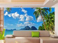 beach wallpaper hd - custom photo murals wall paper High quality silk HD Palm beach scenery summer style living room backdrop large wall mural d wallpaper