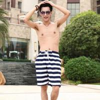 Wholesale Hot Sales Men Women Board Shorts Lovers Surf Swimming Trunks Striped Elastic Waist Beach Swimwear Asian Size L XL WD0093 smileseller