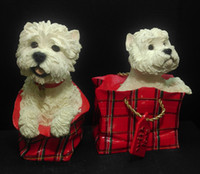 auto trip - Red gift box crafts cute doggie Auto Ornament Artificial West Highland Terrier Resin Crafts For Christmas