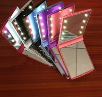 Wholesale LED Make Up Mirror Makeup Cosmetic Folding Portable Compact Pocket Mirror with LED Lights Lamps color KKA322