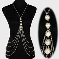 Wholesale Women s Multi Layer Bikini Chains Body Chain Jewelry Fashion Acrylic Pearl Gold Color Sexy Beach Bikini Lingerie Body