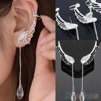 screw back earrings - Angel Wing Silver Plated Crystal Chain Drop Dangle Ear Cuff Stud Clip Earrings S5X