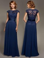 Wholesale Cheap Navy Blue Bridesmaid Dresses Crew Neck Cap Sleeve Sash Lace Illusion Chiffon Long Prom Gowns Mother of the Bride Dresses