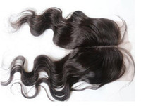 Wholesale Brazilian Virgin hair body wave top lace closure hair swiss lace can ombre bleached knots by DHL