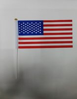 banner poles - World Flags Banner DHL cm USA hand wave flags with pole cm piece Polyester Printing