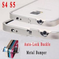 Cheap S5 S4 Hot Ultra Thin Slim Bumper Case For Samsung Galaxy S5 I9600   S4 i9500 Luxury Auto-Lock Buckle Metal Aluminum Alloy Frame