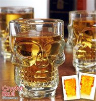 Beer Wine Whisky Drinking Glasses Cup art ware - 500ml Crystal Skull Head Vodka Shot Glass Beer Wine Milk Whisky Glasses Cup Drinking Ware Handle for Home Bar Party Creative Halloween