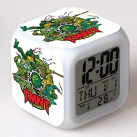 Wholesale Teenage Mutant Ninja Turtles Clock LED Color Flash Digital Alarm Clock Watch Alarm Thermometer Night Colorful Glowing Toy for Boys Kids