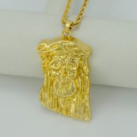 africa jesus - Big Jesus Face Pendant Necklaces K Gold Plated Jesus Piece Necklace HipHop Christian Jewelry Africa Gifts B