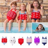 baby float suit - Baby Kids Buoyancy Swimsuits High Quality Bowknot Dot Life Vest Float Swimwear Boys Girls Swimwear Bathing Suit LJJG385
