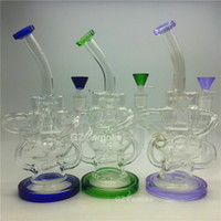 ash purple - Recycler Glass Water Pipe bong dab oil rigs swirls lnline Heady Bongs Gear Perc Bowl oil rig bubbler Ash Catcher Effect purple green black