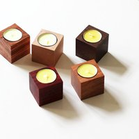 Wholesale Cube candlestick simple wood cup creative wedding candle decoration small cube of wood Candlestick Decoration home decor