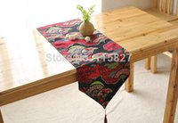 asia flags - High Quality Japanese StyleBlue Red Table flag Cotton Table Runner Asia Style Table Runner House decoration