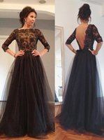 Wholesale Black Evening Dresses Three Quarter Long Sleeve Beaded Lace A Line Mother of the Bride Dresses Floor Length Groom Gowns