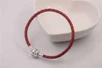 Wholesale Fits For Pandora Style Sterling Silver Clip Clasp Charms Women Gift s925 ALE Red Genuine Leather Bracelet DIY Jewelry Promotion