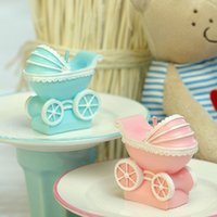 bassinet cradle - Cute baby shower birthday party decorative candlec baby carriage Bassinet Basket cradle shaped christening smookless candle