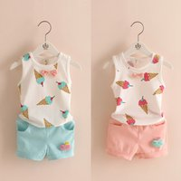 babies ice cream - 2016 New Baby Girls Clothes Childrens ice cream t shirt short blue pink for Kids Clothing sets Summer sleeveless sets