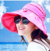 Wholesale Han edition uv big hat ms summer sun hat along the beach hat can be folded together Sun hat A8
