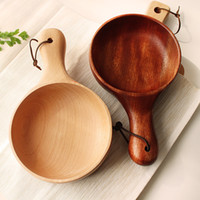 Wholesale Japanese style Wooden bowl with a handle healthy salad bowl handmade noodles soup bowl MOQ