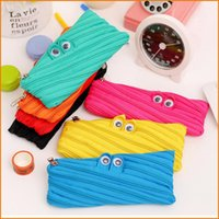 Wholesale 7 Colors Canvas Zipper Monster Pencil Case Bag Pouch Eyes Pen Bags Portable Student School Stationery Kids Gifts Prize
