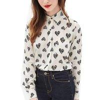 basic top pattern - Women heart pattern blouses turn down collar long sleeve cute shirts Blusas Femininas casual basic office wear tops LT672