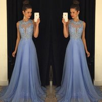 Wholesale Lavender Prom Dresses Lace Applique Beads Formal Long Bridesmaid Dresses A Line Crew Neck Zip Back Chiffon Party Gowns