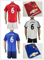 Wholesale 16 Top Quality Cheap Soccer Jersey Men Manchester Home Red Away Blue Away White Soccer Kit POGBA football Kit