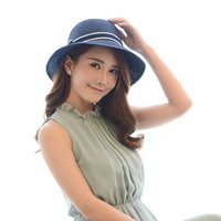 Wholesale 2016 New Beach Hat Ladies Summer Beach Hat Holiday Travel Folding fisherman hat The sun hat straw hat