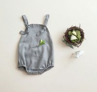 carter's bodysuit - INS New Summer babies romper clothing fashion baby boys girls gray cotton linen jumpsuit toddlers bodysuit babies one piece A7957