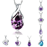 amethyst swarovski crystal - Necklaces Pendants Personalized Crystal Waterdop Pendant for Necklace Amethyst Charm Jewelry High Quality Swarovski Crystal Necklaces