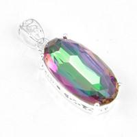 australia gemstone - Luckyshine Classic Dreamy Oval Fire Mystic Topaz Gemstone Sterling Silver Pendants Russia Australia USA Pendants