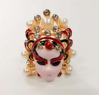 Wholesale Han edition set auger fashion and personality of Chinese wind of Peking Opera facial makeup in operas Peking Opera blues ms ring jewelry