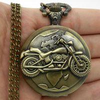 antique motorbike - Antique Bronze Motorcycle Motorbike MOTO Pocket Watch Necklace Pendant Men Gift P79
