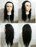 Wholesale 22 quot Real Human Hair Mannequin Heads Training Head Student Mannequin Hairdressing Practice BLACK Hair WITH CLAMP Free