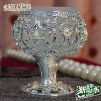 Wholesale New European style creative single candle candle table wedding decoration Candle Holder Silver candle holder with diamond