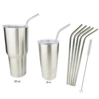 Wholesale Yeti Tumbler Rambler Cups Straw Stainless Steel Straw Metal Drinking Juice Straws One Set Have One Cleaning Brush And Four Straw