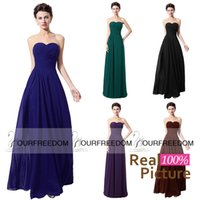 Wholesale Real Image SD334NB Sweetheart Neck Bridesmaid Dresses Floor Length Pleated Chiffon Lace Up Formal Evening Dresses Prom Party Gown Cheap