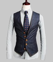 Wholesale fashion Panelled slim Men s vests Casual men s Outerwear men s suits vests Denim Blue