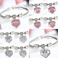 Wholesale 45 types Diamond love Heart bracelet crystal family member Mom Daughter Grandma Teacher Believe Faith Hope best friend for women